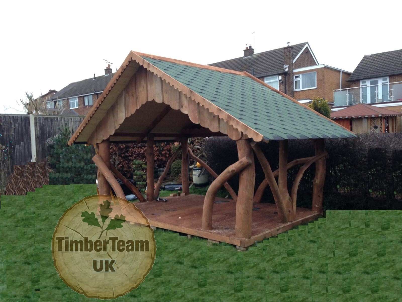 Timber team uk rustic handmade gazebos and garden furniture for Hot tub shelter